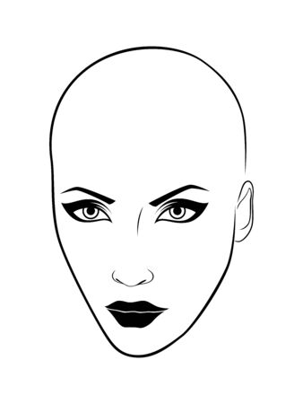 Black outline face of charming and attractive woman isolated on the white background