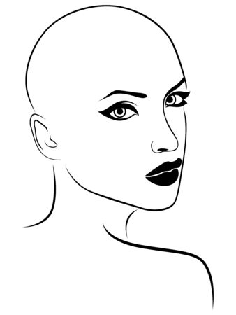Outline face of charming and attractive woman, black isolated on the white background