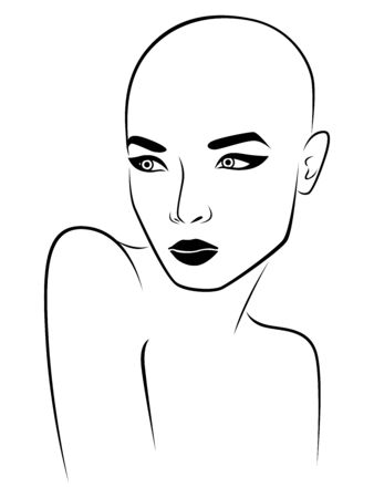 Outline face of elegant and attractive woman, black illustration isolated on the white background Ilustrace