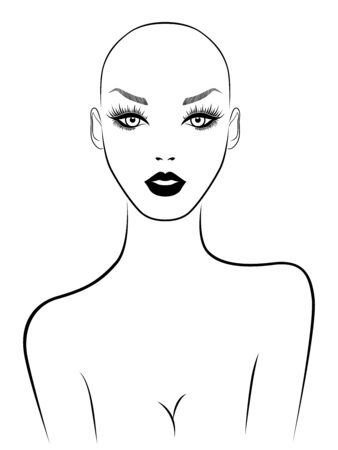 Black contour of charming and attractive woman without hair, illustration isolated on white background Stock Illustratie