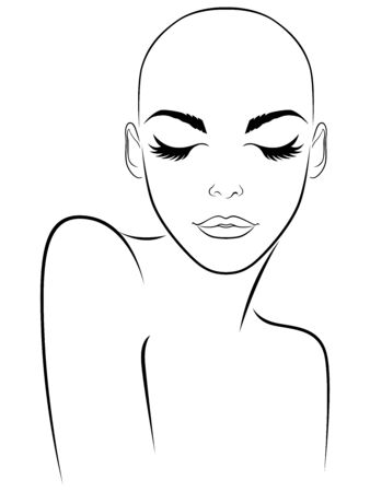 Outline of charming and attractive woman without hair with closed eyes, black isolated on the white background