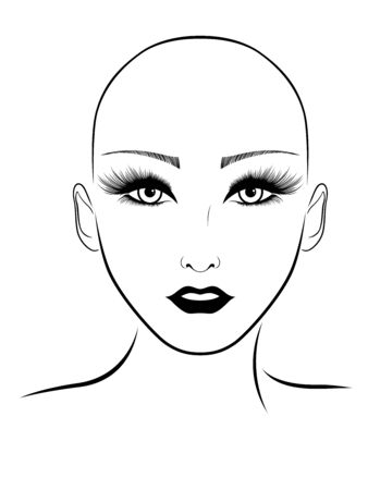 Outline face of elegant and attractive hairless woman with large expressive eyes, black illustration isolated on the white background Stockfoto - 147386570