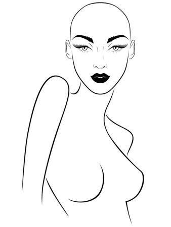 Outline of attractive and sensual hairless woman with large expressive eyes, black illustration isolated on the white background Stockfoto - 147386571