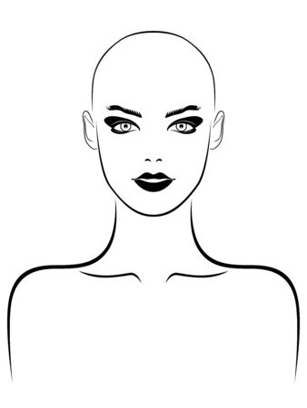 Black outline of charming and attractive woman without hair, illustration isolated on white background