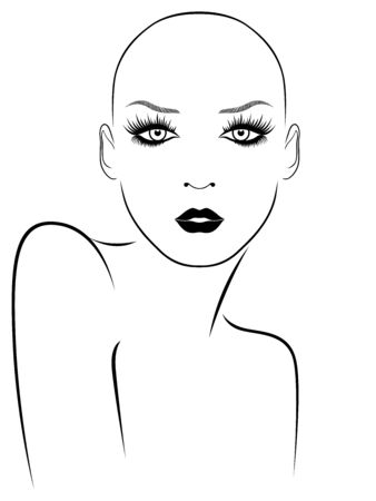 Outline face of elegant and attractive hairless woman with large expressive eyes, black illustration isolated on the white background