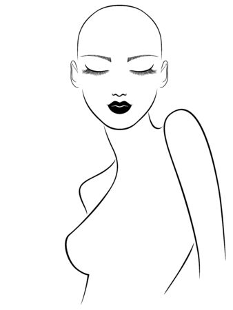 Outline of sensual and attractive hairless woman with closed eyes, black isolated on the white background Stockfoto - 147386574