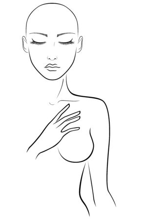 Black outline of charming and attractive woman without hair with closed eyes, illustration isolated on white background