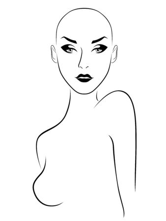 Outline of elegant and attractive hairless woman, black illustration isolated on the white background Ilustrace