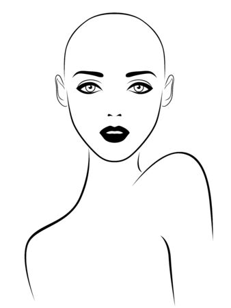 Black outline of charming and sensual woman without hair with large eyes, illustration isolated on white background