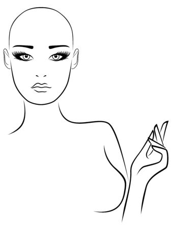 Outline of charming and attractive hairless woman with large expressive eyes, black isolated on the white background
