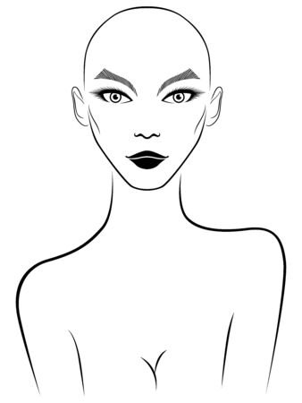 Outline of hairless woman with large expressive eyes, black illustration isolated on the white background