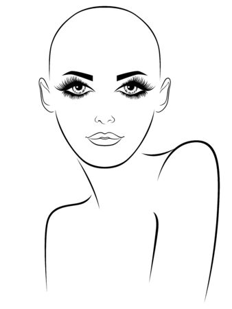 Abstract of attractive and sensual hairless woman with large expressive eyes, black illustration isolated on the white background