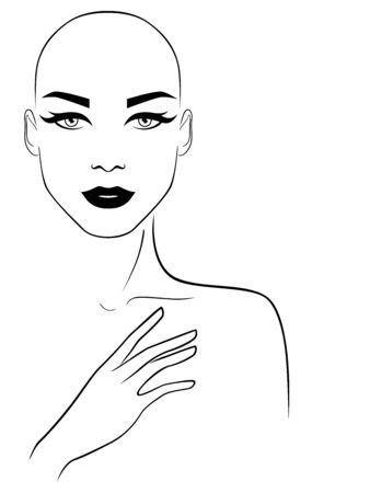 Black outline of sensual and beautiful woman without hair, illustration isolated on white background Stock Illustratie
