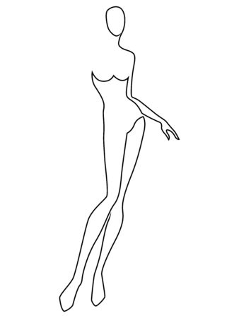 Black contour of the body of elegant woman, isolated on the white background, hand drawing outline