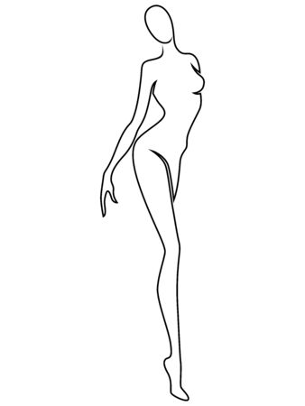 Abstract of the body of elegant woman, black contour isolated on the white background, hand drawing outline