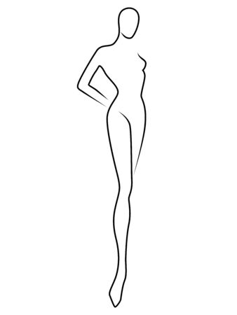 Outline of the body of elegant woman, black isolated on the white background, hand drawing outline Ilustracja