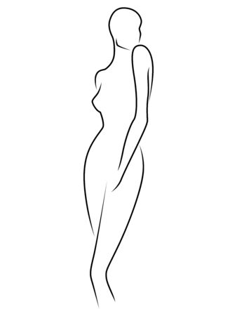 Abstract of the body of elegant woman, black outline isolated on the white background, hand drawing outline Ilustracja