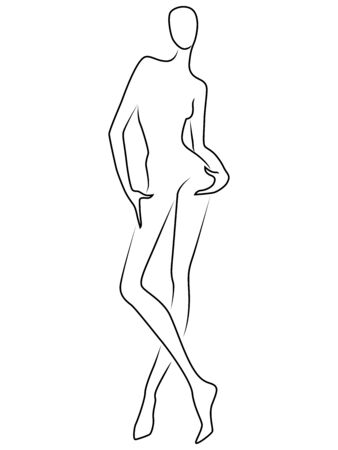Abstract body of charming woman, black isolated on the white background, back view, hand drawing outline