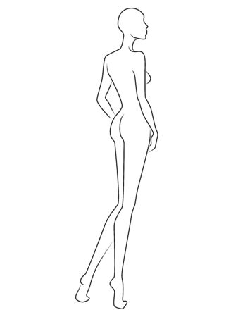 Abstract body of charming lady, black isolated on the white background, hand drawing outline