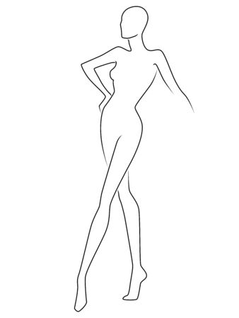 Abstract of the body of elegant lady, black outline isolated on the white background, hand drawing outline Illustration