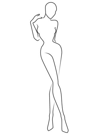 Outline of the body of sensual woman, black isolated on the white background, hand drawing outline