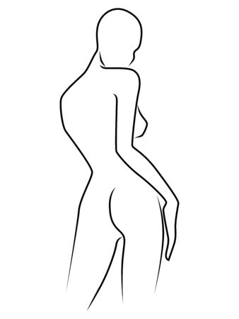 Abstract outline of charming woman, isolated on the white background, back view, hand drawing outline