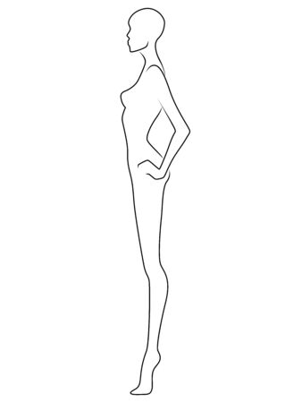 Abstract body of charming woman, black isolated on the white background, side view, hand drawing outline Ilustracja