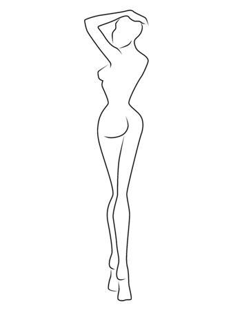 Abstract of the body of charming woman, isolated on the white background, back view, hand drawing outline