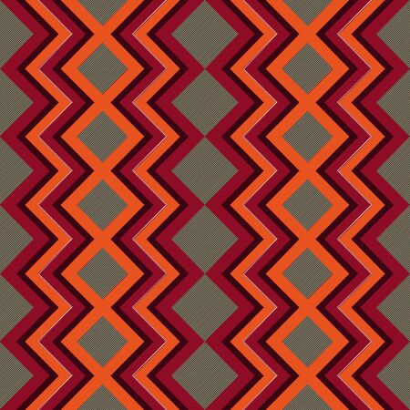 Seamless vector pattern of repetitive zigzag elements with red, orange and green colors