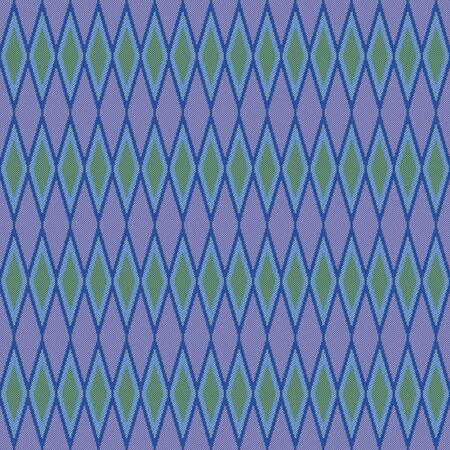Seamless pattern of repetitive rhombic and line with in blue, violet and green colors