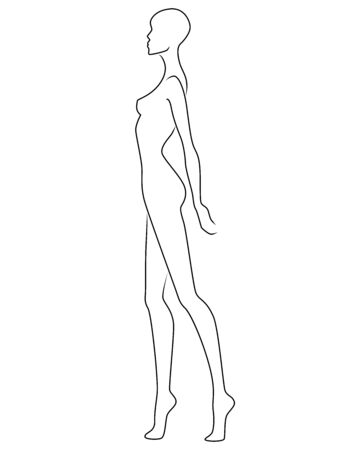 Abstract outline of charming woman, isolated on the white background, side view, hand drawing outline