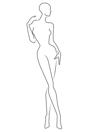 Abstract of the body of elegant lady, black contour isolated on the white background, hand drawing outline