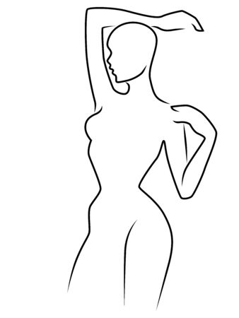 Outline of the body of sensual lady, black isolated on the white background, hand drawing