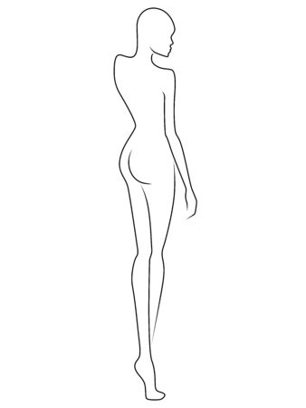 Black contour of the body of elegant lady, isolated on the white background, hand drawing outline