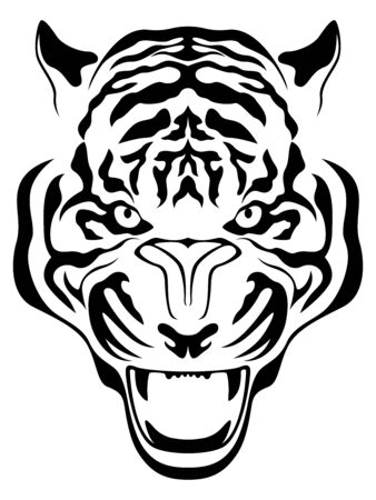 Head of aggressive tiger close up, hand drawing vector outline isolated on a white background