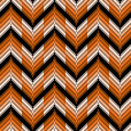 Seamless vector pattern of repetitive zigzag elements in brown, orange hues and black