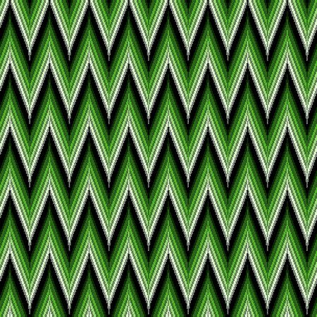 Seamless vector pattern of repetitive zigzag elements in green hues and black Vectores