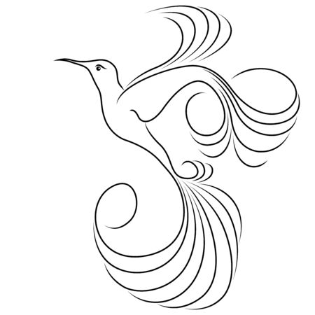 Black outline of abstract flying hummingbird isolated on the white background