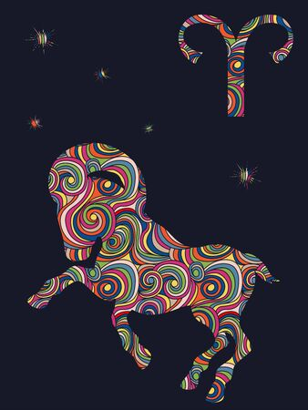 Zodiac sign Aries fill with colorful muted wavy shapes on the dark gray background with stars and astrological symbols, vector illustration
