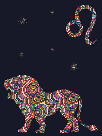Zodiac sign Leo fill with colorful muted wavy shapes on the dark gray background with stars and astrological symbols, vector illustration
