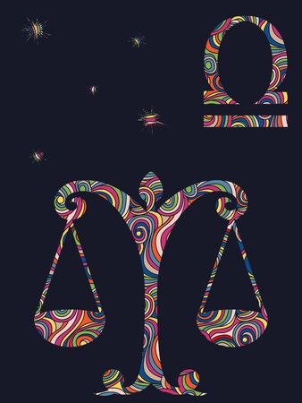 Zodiac sign Libra fill with colorful muted wavy shapes on the dark gray background with stars and astrological symbols, vector illustration