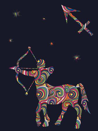 Zodiac sign Sagittarius fill with colorful muted wavy shapes on the dark gray background with stars and astrological symbols, vector illustration