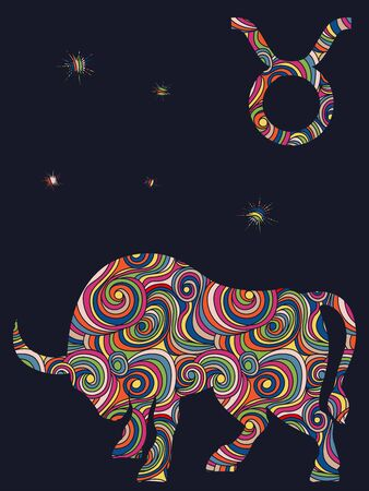 Zodiac sign Taurus fill with colorful muted wavy shapes on the dark gray background with stars and astrological symbols, vector illustration Stock Illustratie