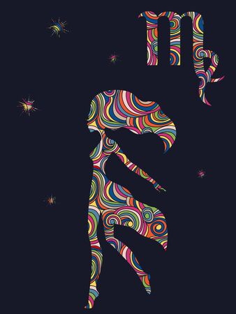 Zodiac sign Virgo fill with colorful muted wavy shapes on the dark gray background with stars and astrological symbols, vector illustration