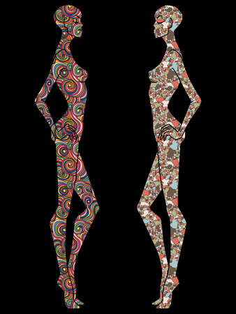 Two ladies body stencil decorated with various patterns, isolated on the black background