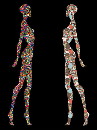 Two ladies body contour decorated with various patterns, isolated on the black background