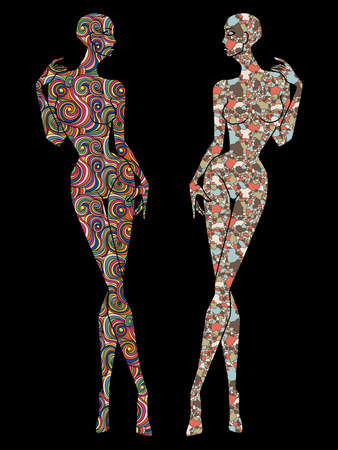 Two ladies body stencil decorated various patterns, isolated on the black background  Illusztráció