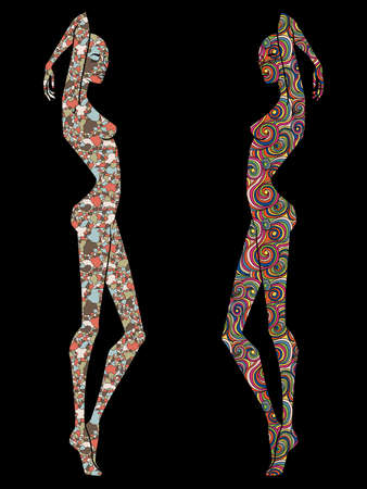 Stylized sketch of two ladies body contour decorated various patterns, isolated on the black background