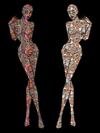 Two ladies body stencil decorated with various patterns, silhouette isolated on the black background