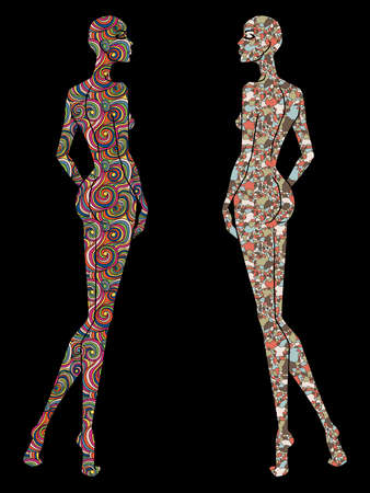 Stylized sketch of two ladies body silhouette decorated various patterns, isolated on the black background